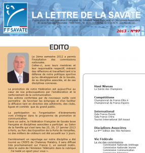Lettre de la Savate de février 2013. On parle des Titis Parisiens à l'intérieur! Cliquez pour télécharger.