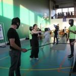 Initiation de canne sportive à des volontaires lors du Championnat de France UNSS de SBF